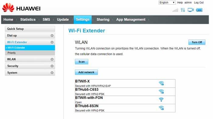 Huawei E5577C wifi extender settings