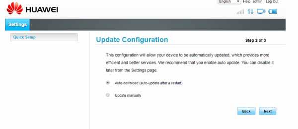 Huawei quick setup step 2