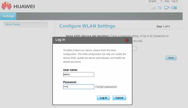Huawei web interface log in